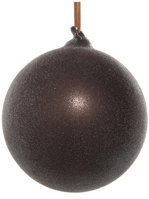 Glass ball dark brown sugared 8cm