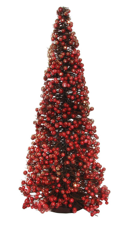 Berry twig tree red gold glitter h40cm