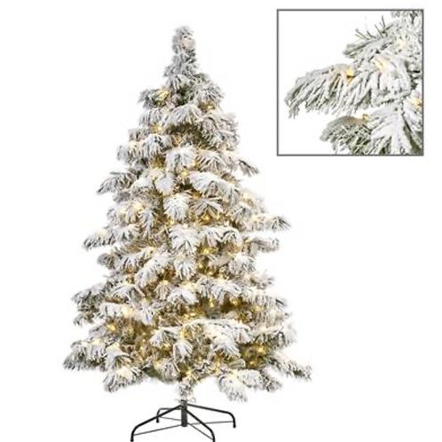 550 LED L.FLOCK NEEDLE PINE TREE WH 225CM 852TPS