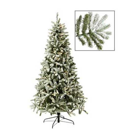 420LED LIT FRENCH TIP FLCK PINE TREE 225CM1088TPS