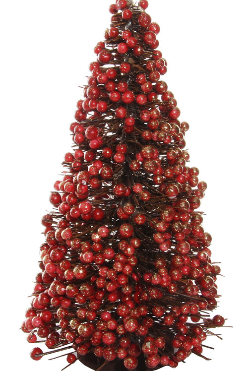 Berry twig tree red gold glitter h25cm