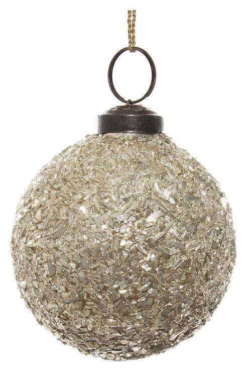 Glass ball silver flakes 7cm