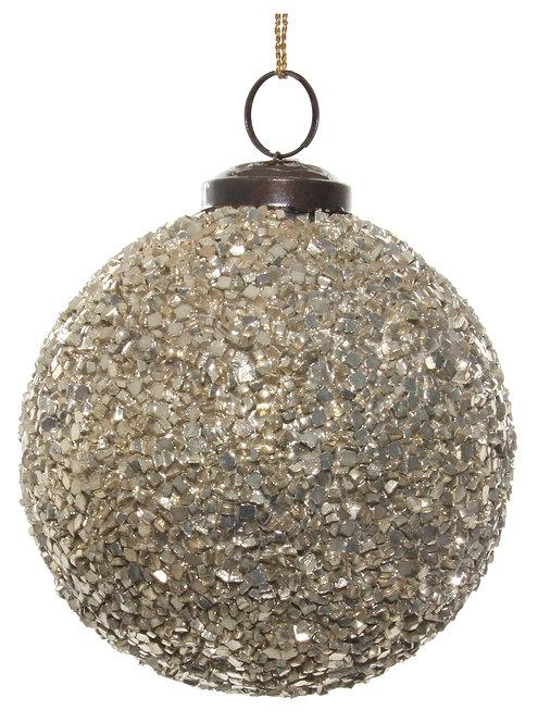 Glass ball cube mosaic silver 10cm