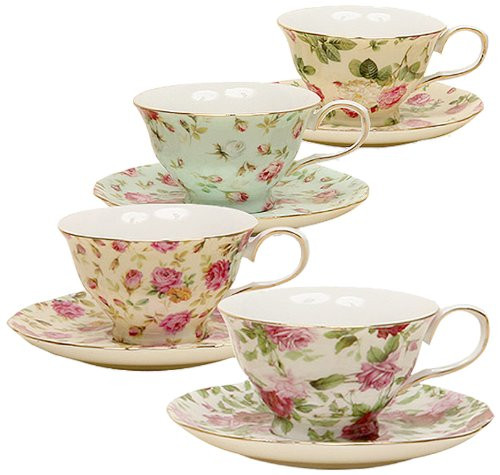 Gracie China by Coastline Imports 33708B Rose Chintz 8-Ounce Porcelain Tea Cup and Saucer, Set of 4