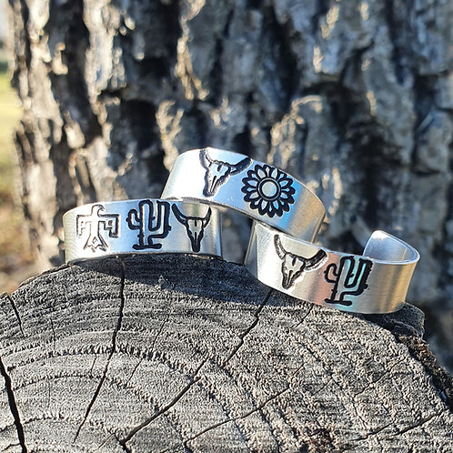 Two Symbol Adjustable Custom Ring (Sizes 4-7)