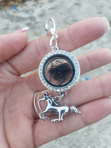 Rhinestone Locket Keychain with Horse Charm