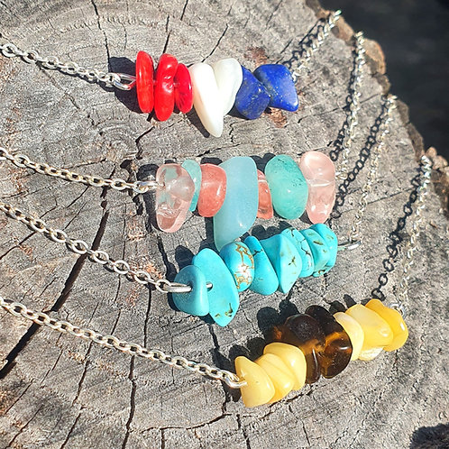 Colored Stone Bar Necklaces