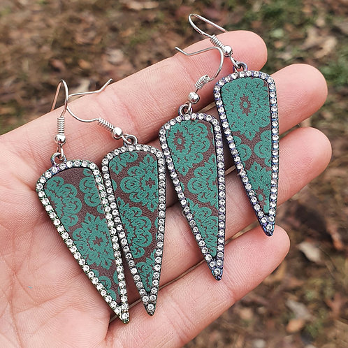 Turquoise Leather Rhinestone Outlined Earrings