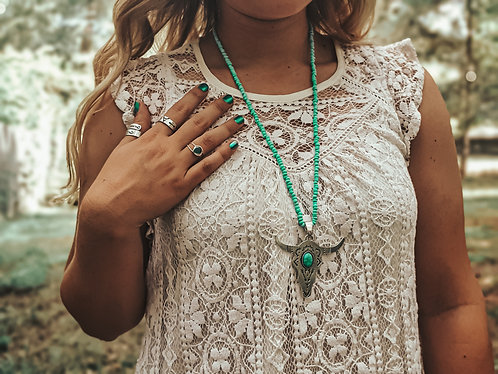 Turquoise Cattle Skull Long Necklace