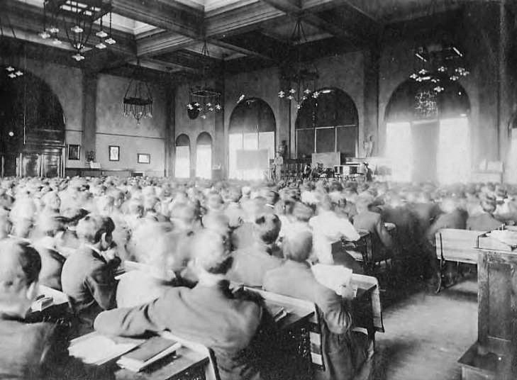 Photo of Broadway High School Auditorium as it appeared in 1909.