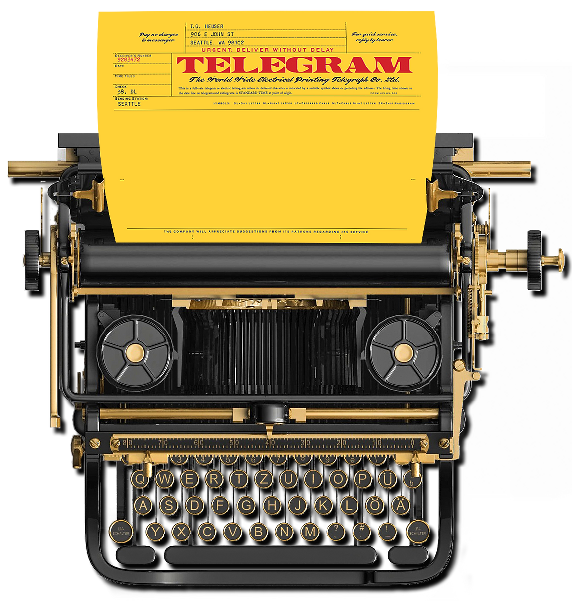 Typewriter with telegram sheet used as a contact form