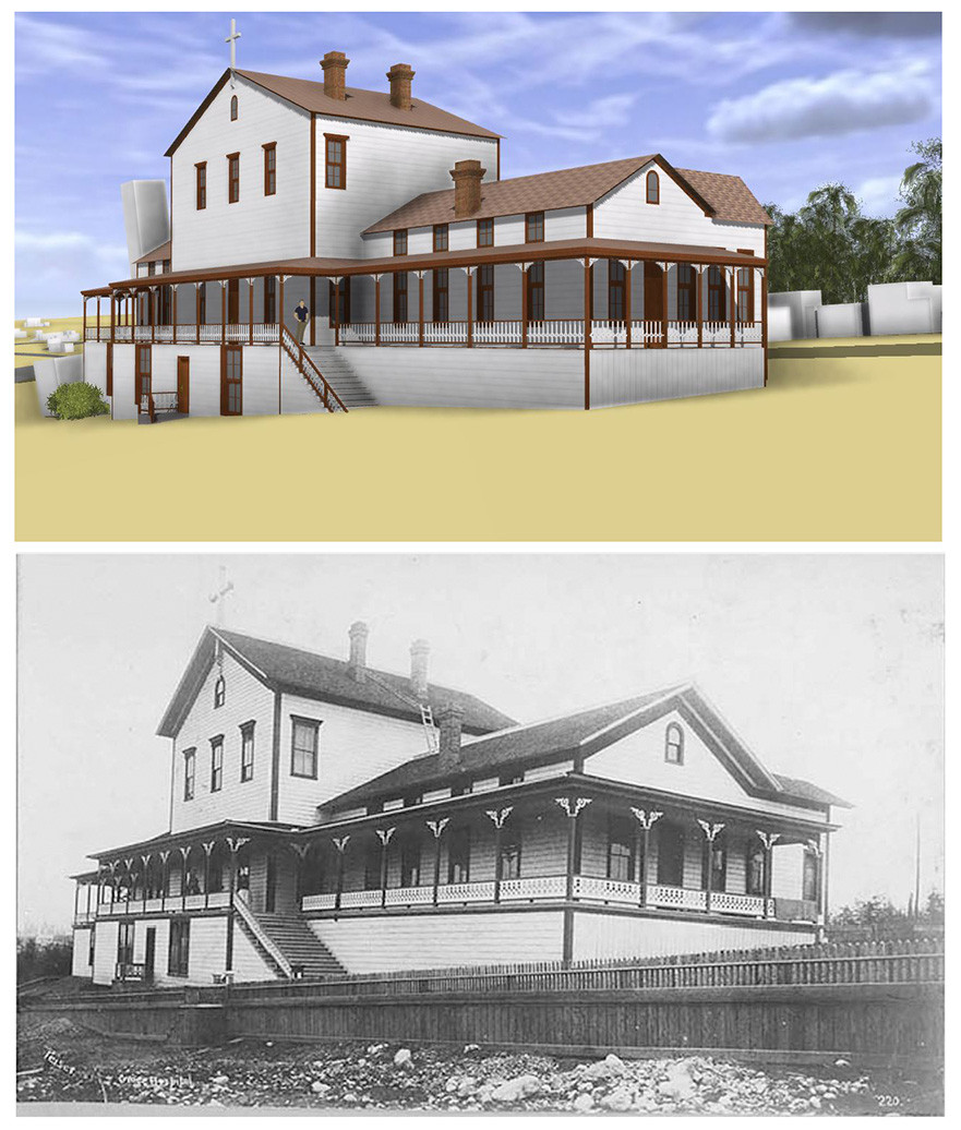 Top: Grace Hopsital Rendering by Lorn Fant. Bottom: Grace Hospital, 1893 from UW Special Collections