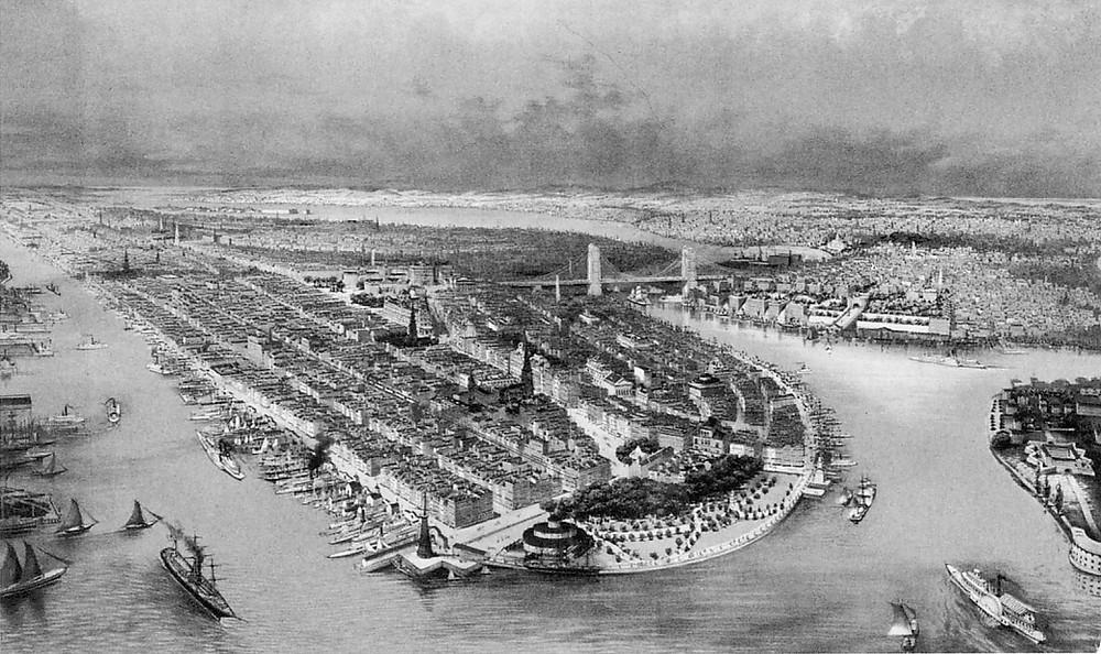 New York City Circa 1880s. Castle Garden Immigration building at center bottom. Library of Congress.