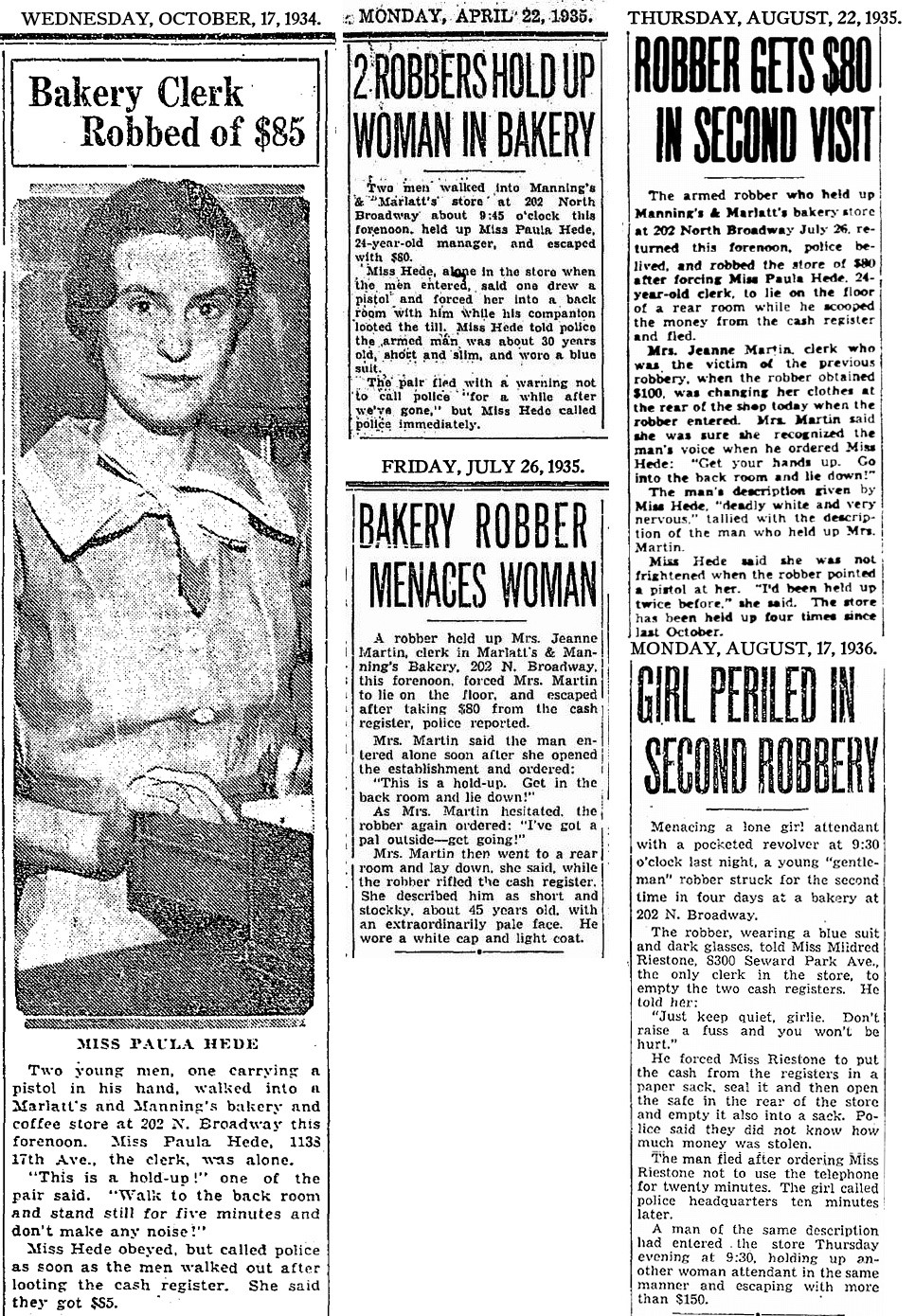 1934-1937 Seattle Times various robbery news clippings.