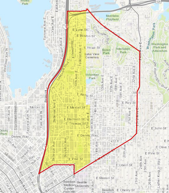 Highlighted boundary map indicating area surveyed thus far.