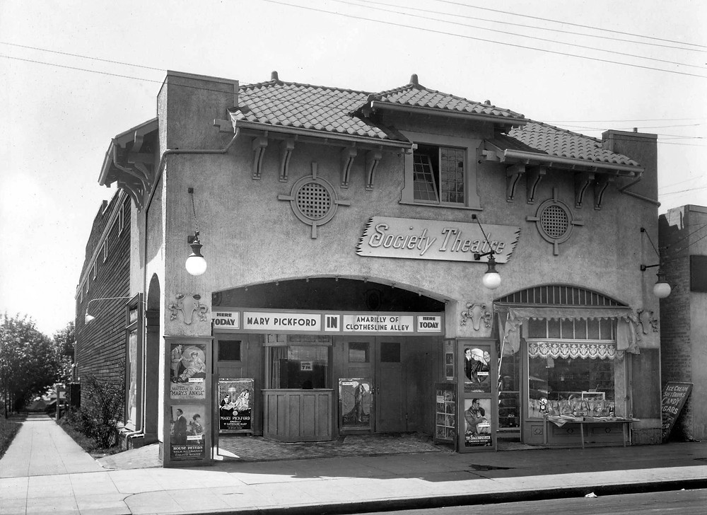 Photo of the Society Theatre c1920. Photoshopped to make it look as it might have appeared on May 28, 1918.