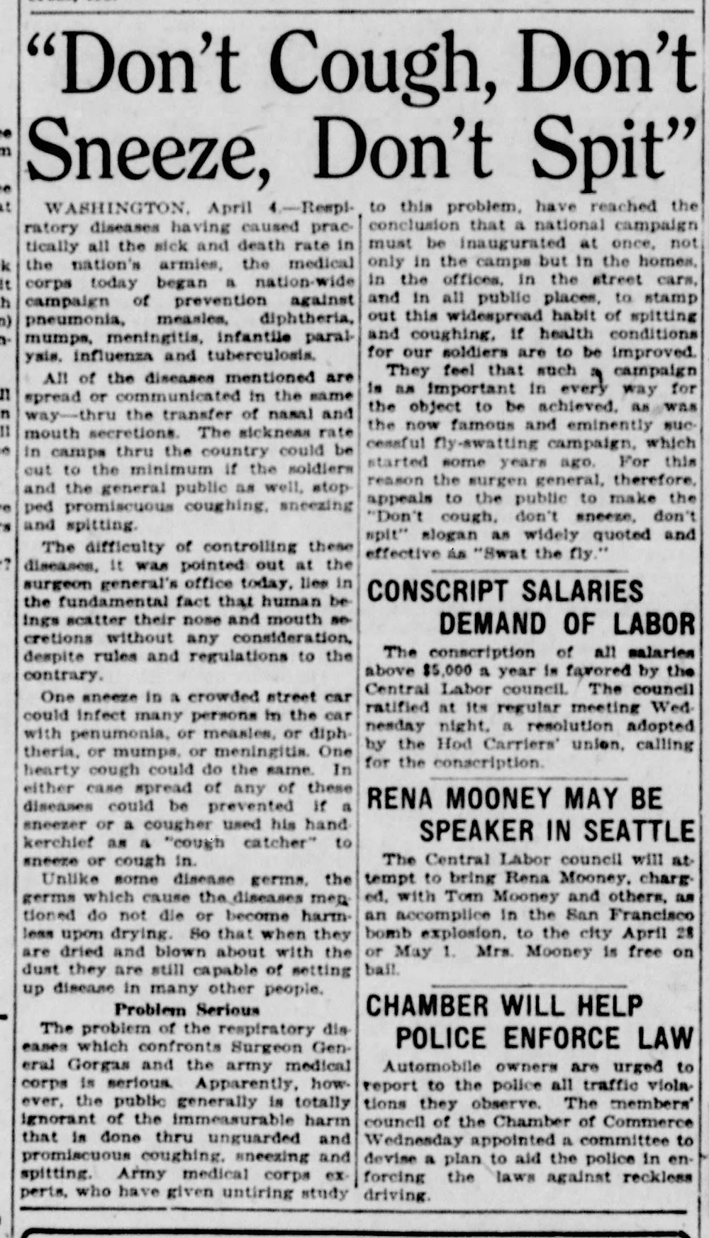 News clipping from the Seattle Star Newspaper. April 4, 1918