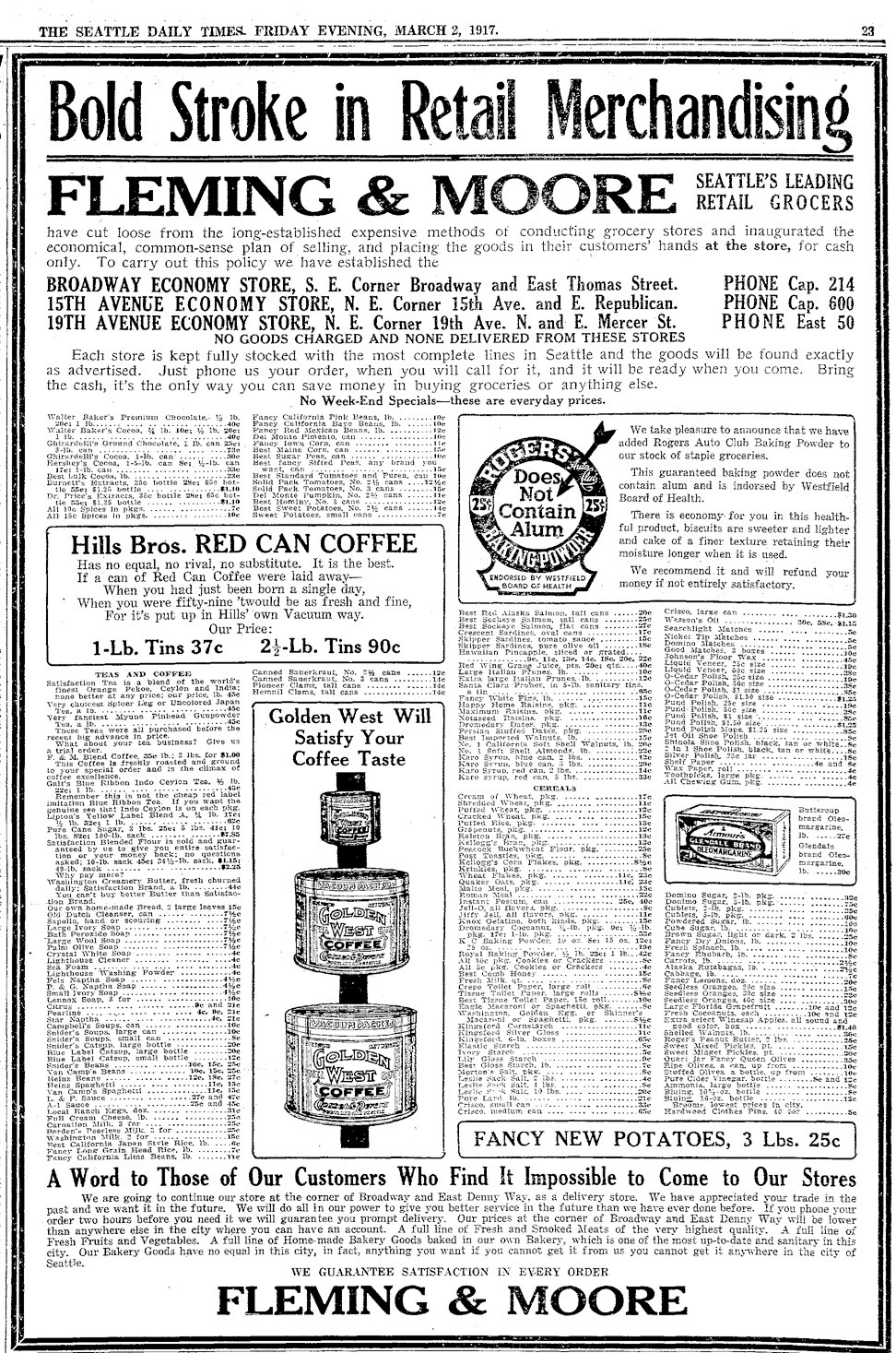 Fleming & Moore ad. Seattle Times, March 2, 1917