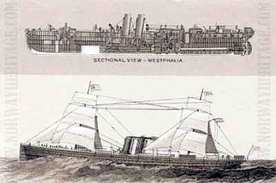 Steamship Westphalia. NorwayHeritage.com