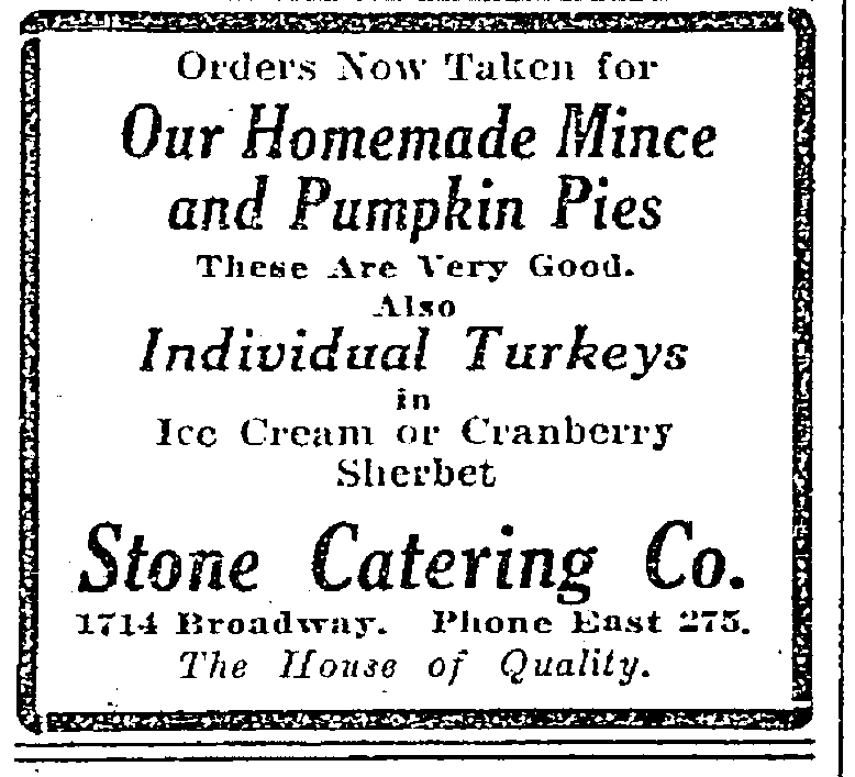 1917 Stone Catering ad Seattle Times