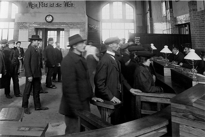Hamburg-Amerika Line ticket office, circa 1900. The Cordes' most likely purchased their tickets here.
