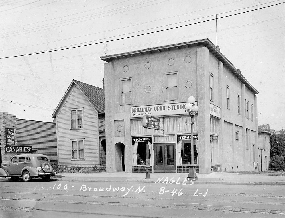 100-104 Broadway N circa 1937. Image: WA State Archives