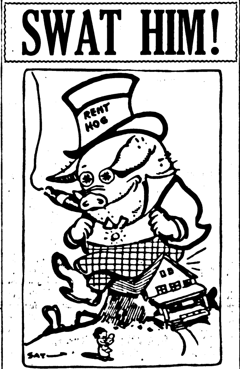 Rent Hog cartoon, 1918. Seattle Star