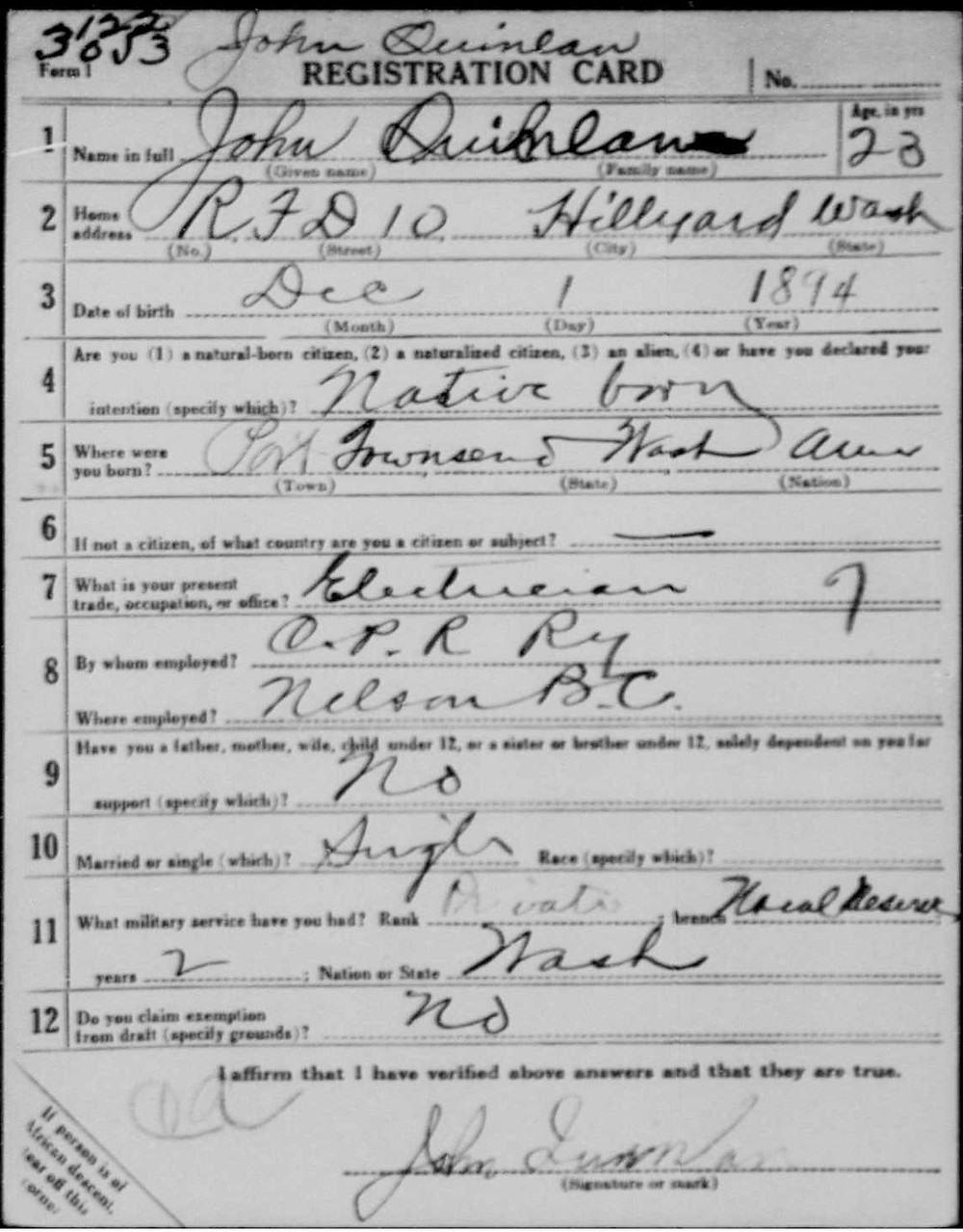 World War I Draft Registration Card via ancestry.com