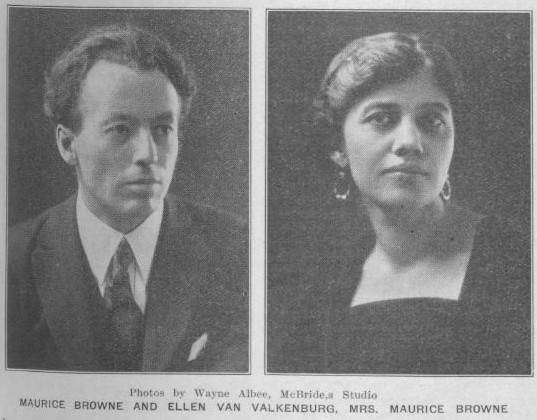 Photos of Maurice Browne and Ellen Van Valkenburg in the vol 13 no 4 of the Town Crier. March 30, 1918