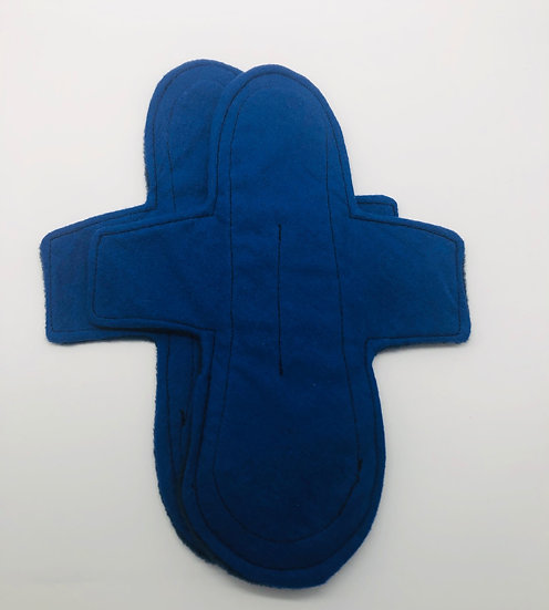 Blue brushed cotton moderate washable reusable menstrual clothpad