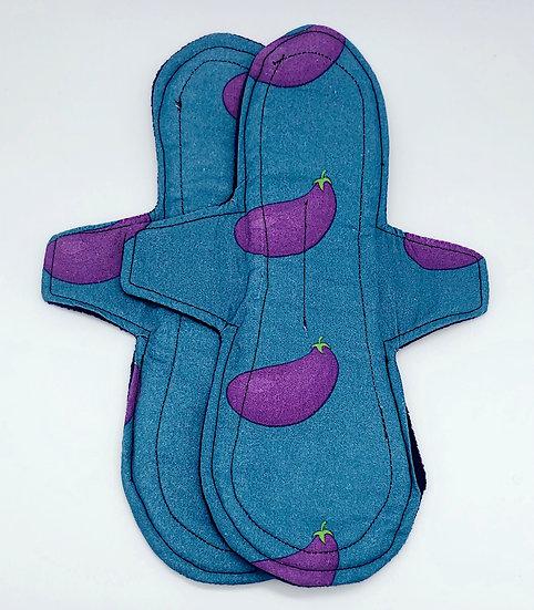 eggplant aubergine overnight heavy long reusable menstrual period cloth pad