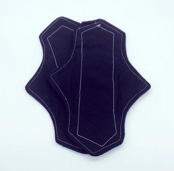 dark black white floppy moderate washable reusable menstrual clothpad