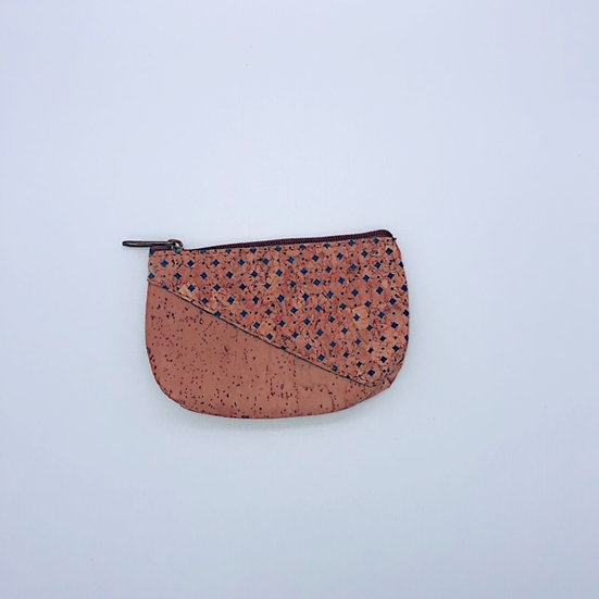 Natural Cork coin purse pouch with a zip with pattern
