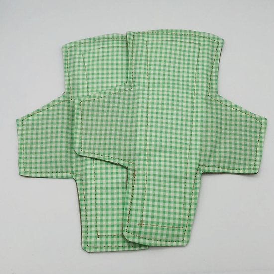 reusable washable cotton panty liners green-checkered a symmetrical ray pair