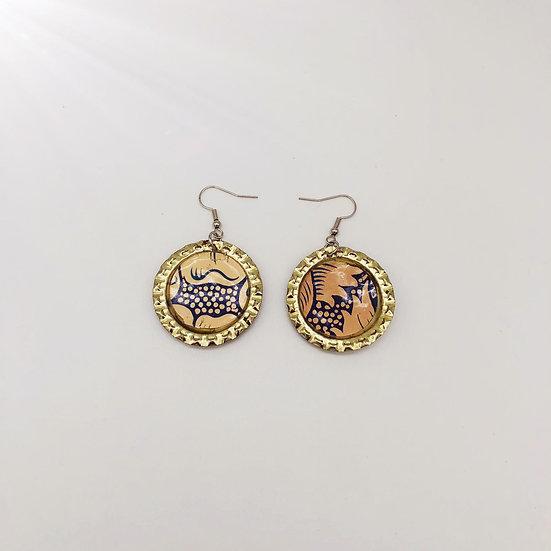 Upcycled bottle cap earrings 1