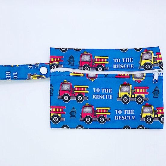 Reusable wet bag for storing clothpads - blue firetruck