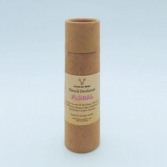 natural deoderant stick for armpits - floral biodegradable