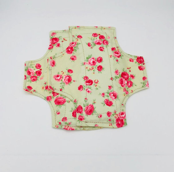reusable washable cotton panty liners greenish yellowy back pink flowers