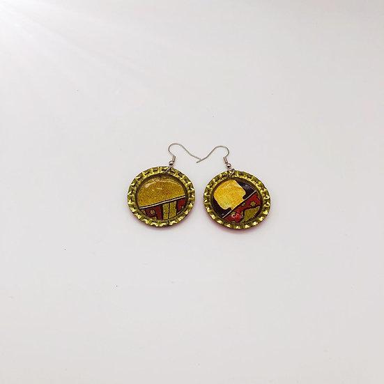 Upcycled bottle cap earrings 14