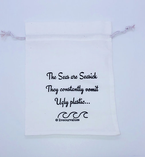 canvas fruit and veg bag with poetry printed on it - ugly plastic - small