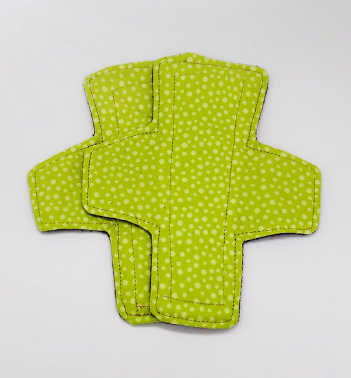 brushed cotton green dotted panty liner reusable washable A symetrical
