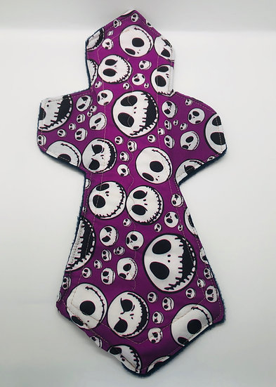 Purple background White skulls heavy MONSTER washable menstrual clothpad