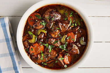 This beef stew is definitely worth waiting for – rich and delicious and even better when made the day ahead and left to chill overnight. Just return to the hob and heat through very gently  until piping hot.
