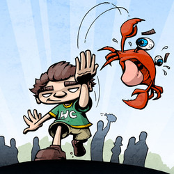 Crab toss poster illustration