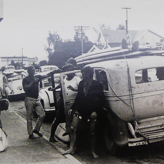 The Gisborne Boys - Keith Paul, Nigel Dwyer, Terry Mac, LT & Gibbo looking out.