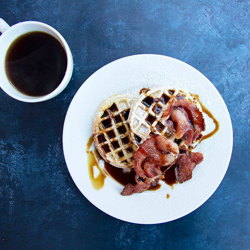 Espresso Syrup, waffles and bacon