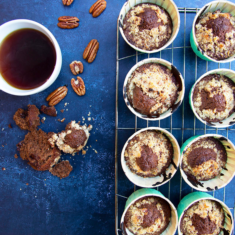 Coffee and Pecan Crumble Muffins