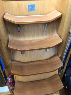 Moody S31 - Companionway steps sanded ba