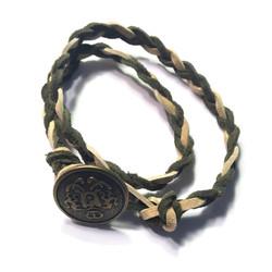 Dual-Color Leather Braid Wrap Bracel