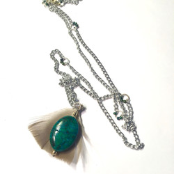 Turquoise Feather Necklace